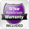 10 Year Manufacturer Warranty Included